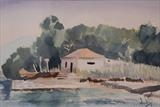 The Boathouse by James Roberts, Painting, Watercolour on Paper